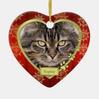 Pet Cat Memorial Red Gold Heart Photo Christmas Ceramic Heart Decoration