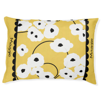 PET CHIC BED_MOD, GIRLY WHITE & BLACK POPPIES