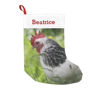 Pet Chicken Lover Photo and Name Personalized Small Christmas Stocking