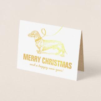 Pet Dachshund Merry Christmas Foil Card