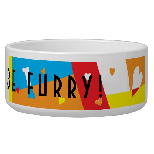"Pet DOG Bowl Large ""Eat, Drink and be Furry"""