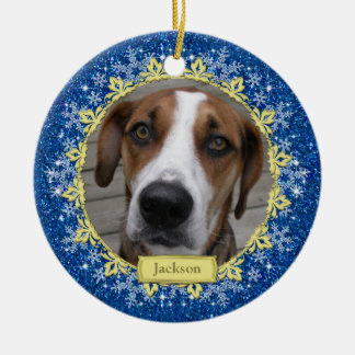 Pet Dog Memorial Blue Snowflake Photo Christmas Round Ceramic Decoration
