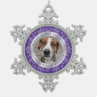 Pet Dog Memorial Photo Christmas Purple Silver Pewter Snowflake Decoration