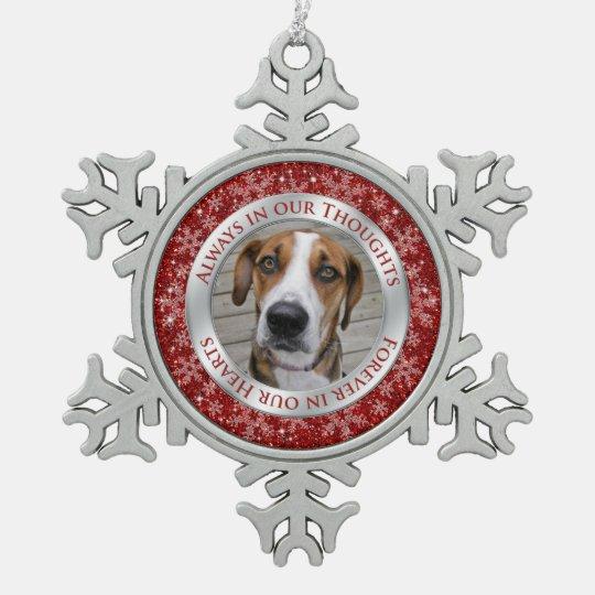 Pet Dog Memorial Photo Christmas Red Silver Snowflake
