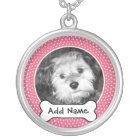 Pet Dog Photo Template Frame Silver Plated Necklace
