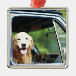 Pet dog sitting in a car Silver-Colored square decoration