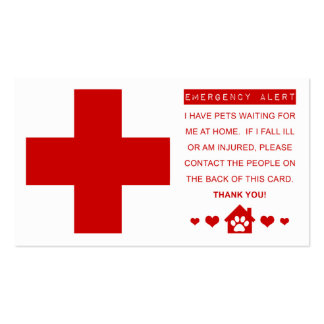 pet emergency alert pack of standard business cards