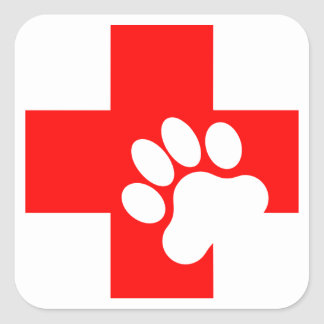 Pet First Aid Decals Square Stickers