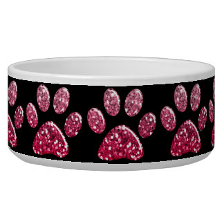 Pet Food Bowl - Dk Pinks Bling Paw Prints