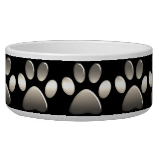 Pet Food Bowl - Platinum Paw Prints