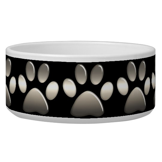 Pet Food Bowl - Platinum Paw Prints