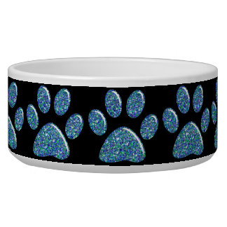 Pet Food Bowl - Teal Blues Bling Paw Prints