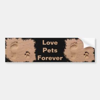Pet & Footprint in the Sand Bumper Sticker