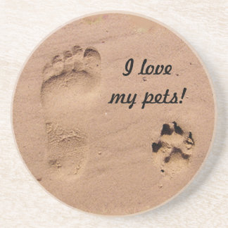 Pet & Footprint in the Sand Drink Coasters