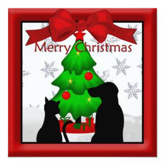Pet Friends Christmas Greeting 13 Cm X 13 Cm Square Invitation Card
