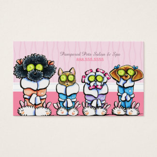 Pet Groomer Spa Dogs Cat Robes Discount Punch Business Card