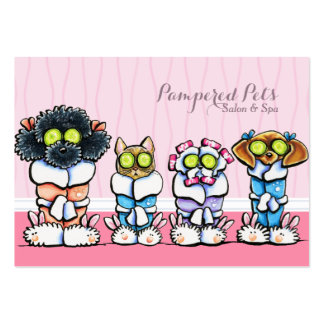 Pet Groomer Spa Dogs Cat Robes Pink Business Card Template