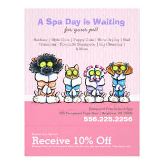 Pet Groomer Spa Dogs Cat Robes Pink Coupon Ad 21.5 Cm X 28 Cm Flyer