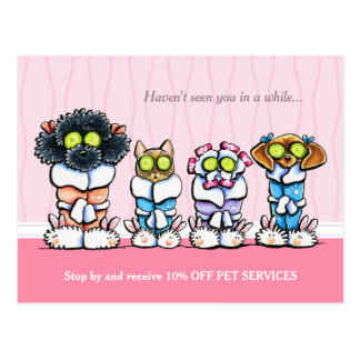 Pet Groomer Spa Dogs Cat Robes Pink Coupon Mailer Postcards