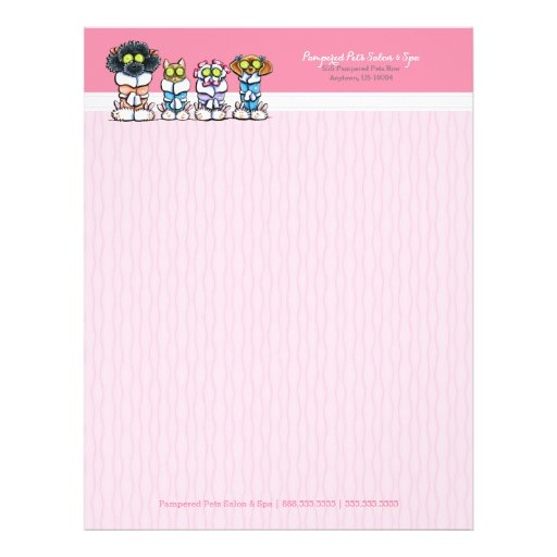 Pet Groomer Spa Dogs Cat Robes Pink Letterhead Flyers