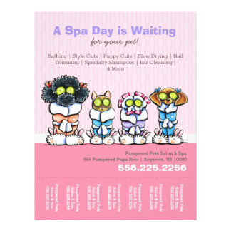 Pet Groomer Spa Dogs Cat Robes Pink Tear Sheet