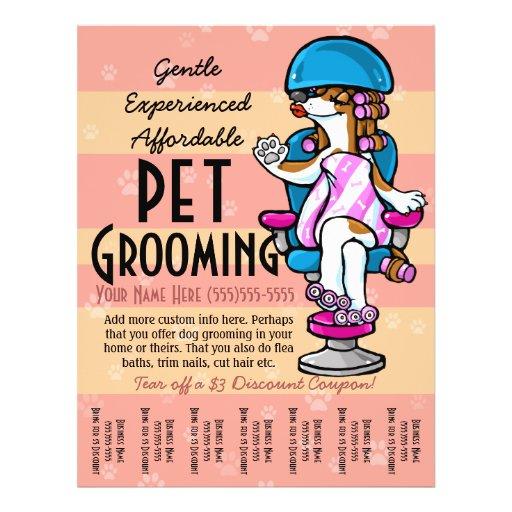 Pet Grooming. Customizable Promotional Tear sheet Custom Flyer