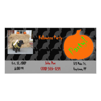 Pet Halloween Party Invitation Photo Card Template