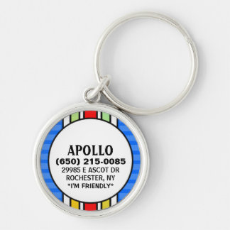 Pet ID Tag - Blue & Vertical Stripes Keychain
