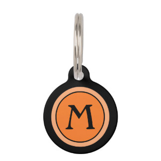 Pet ID Tag - Deep Orange & Black with Monogram