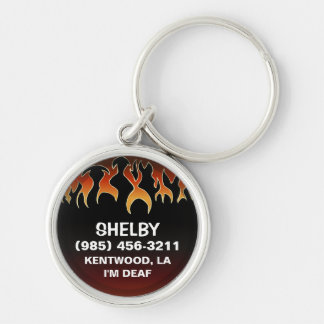 Pet ID Tag - Flames on Black & Maroon Silver-Colored Round Key Ring