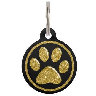 Pet ID Tag - Gold Bling Paw Print on Black