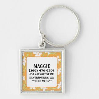 Pet ID Tag - Orange & White Flowers - Square Key Chains