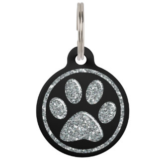 Pet ID Tag - Silver Bling Paw Print on Black