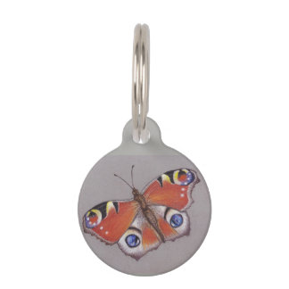 Pet ID Tag with Peacock Butterfly Design