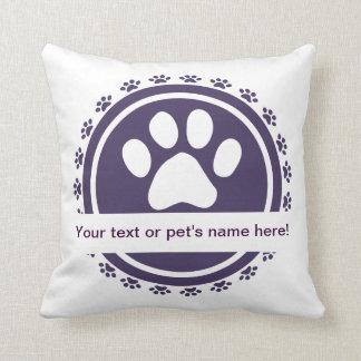 pet label blue throw pillows