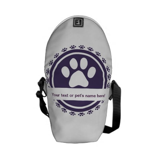 pet label blue messenger bag