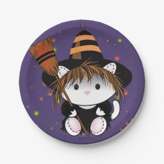 PET LITTLE WITCH HALLOWEEN PAPER PLATE 7 inches