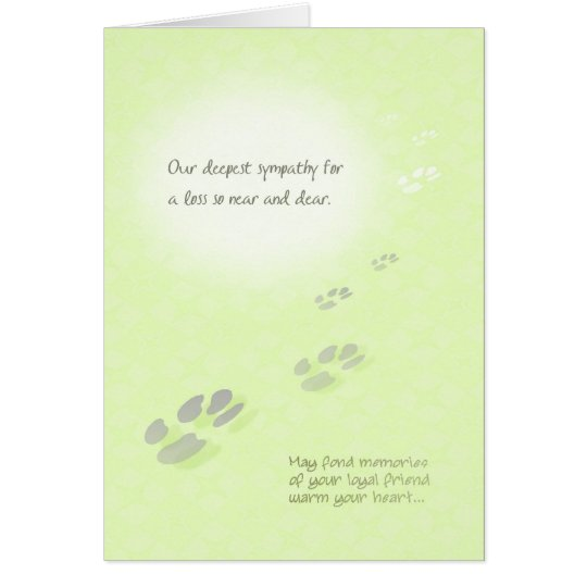 Pet Loss Sympathy -Vet - Pawprints Card