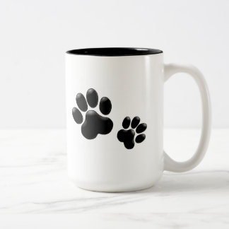 Pet Lovers! Pup and Kitty PawPrints Two-Tone Mug