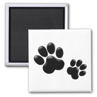 Pet Lovers! Pup and Kitty PawPrints Square Magnet