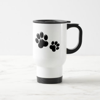 Pet Lovers! Pup and Kitty PawPrints Stainless Steel Travel Mug