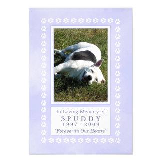 "Pet Memorial Card 3.5""x5"" - Heavenly Blue Pawprint"