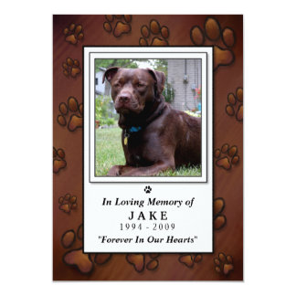 "Pet Memorial Card 5""x7"" - Chocolate Brown Photo"
