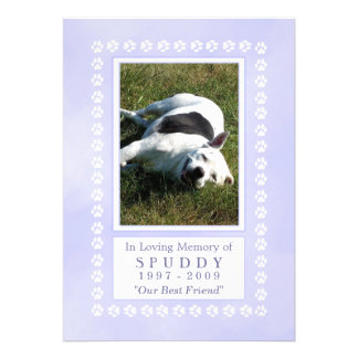 "Pet Memorial Card 5""x7"" - Heavenly Blue Pawprints"