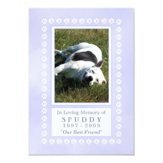 Pet Memorial Card 5x7 - Heavenly Blue Pawprints 13 Cm X 18 Cm Invitation Card