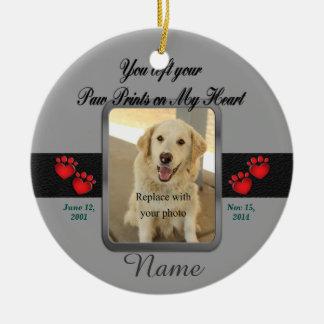 Pet Memorial Christmas Round Ceramic Decoration