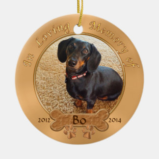 Pet Memorial Gifts Personalized 2 PHOTOS, 3 TEXT Round Ceramic Decoration