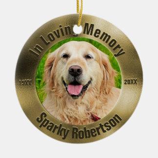 Pet Memorial Gold Christmas Ornament