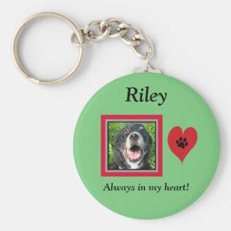 Pet Memorial Keepsake/Paw Print/Heart Basic Round Button Key Ring