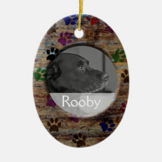 Pet Memorial | Personalized Photo Rustic Paw Print Ceramic Oval Decoration